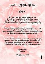 Item 5 Wedding Day Thank You Gift Mother Of The Bride Poem A5 Photo