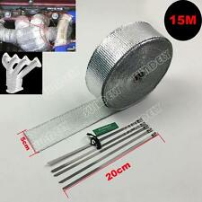 "2"" Exhaust Manifold Downpipe Silver Heat Wrap 50Ft & 5 Ties rap De Cat Pipe Tape"