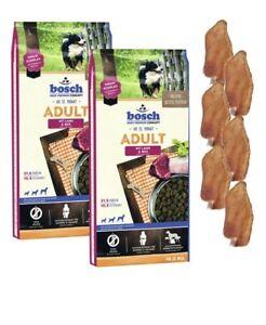 2x15kg Aliments pour chiens, riz et agneau, adultes Bosch, 6 X oreilles de lapin