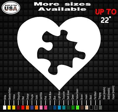 Autism Awareness Heart Puzzle 4 Wide Light Blue Vinyl Decal Sticker Car Truck Window Laptop Flat Surface