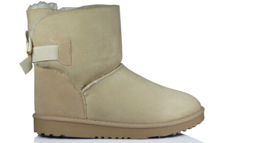 New Womens One Bow Short Classic Fur Winter Snow Boots Ladies Sizes Size Uk 3-8