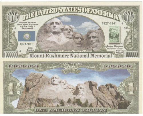 FREE SLEEVE Mount Rushmore Million Dollar Bill Fake Funny Money Novelty Note