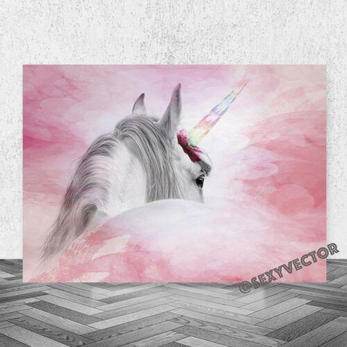 SUPERB UNICORN FANTASY HORSE CHILDREN/'S ROOM FRAMED CANVAS PICTURE ARTWORK #61
