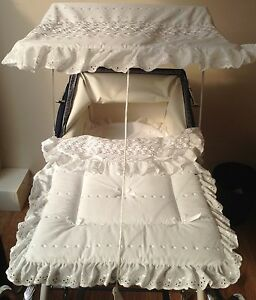 Sun-Canopy-and-Bedding-Set-for-Silver-Cross-Coach-Built-Pram-Kensington-Balmoral