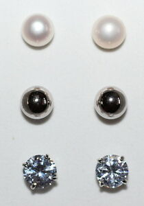 Set-of-3-Earrings-Sterling-Silver-8mm-Cubic-Zirconia-White-Pearl-Ball-Stud