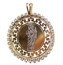 San Judas Tadeo Round Medal 18k Gold Plated with 20 Chain St. Jude Thaddeus