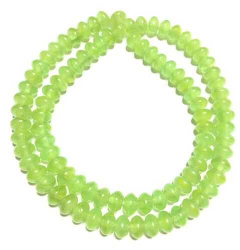 Fine Vintage Molded Czech Lime Green Bohemian Glass Smooth Rondelle Beads