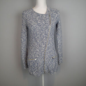 Banana-Republic-blue-whiteTweed-Jacket-Zip-Front-Sweater-Knit-Coat-sz-xs-ku