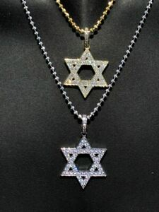 Solid-925-Silver-Iced-Magen-Star-Of-David-Jewish-Icy-Diamond-14k-Gold-Plated