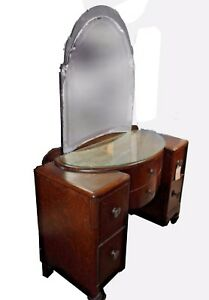 Antique-Art-Nouveau-Ladies-Vanity-Dresser-with-Glass-Top-amp-Mirror-Acorn-Feet