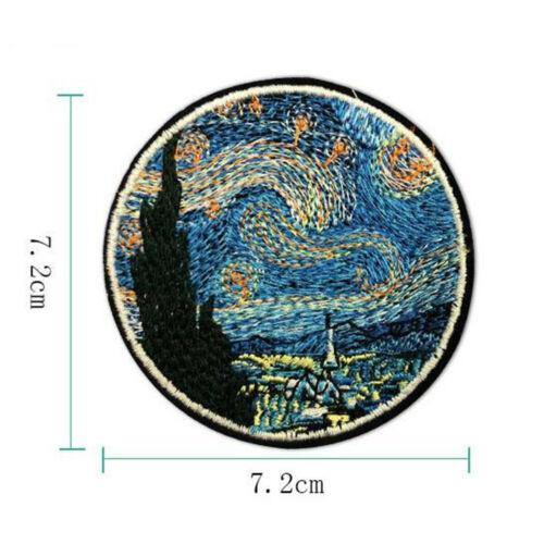 Die Sterne Nachtmalerei Stickerei Eisen Auf Patches Kleidung Applique Aufkleber