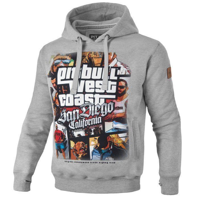 Pit Pit Pit Bull West Coast Hooded Most Wanted Hoodie grau Grau 99a3c9