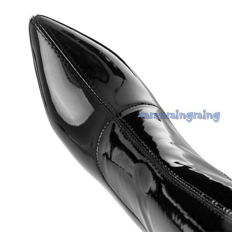 Mujeres Puntera encima Puntiaguda stilettis Tacones Altos tirar encima Puntera de la rodilla botas De Invierno Zapatos 93bf81