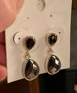 NWT-STYLE-amp-co-Double-Silver-Toned-Teardrop-Earrings-16-50
