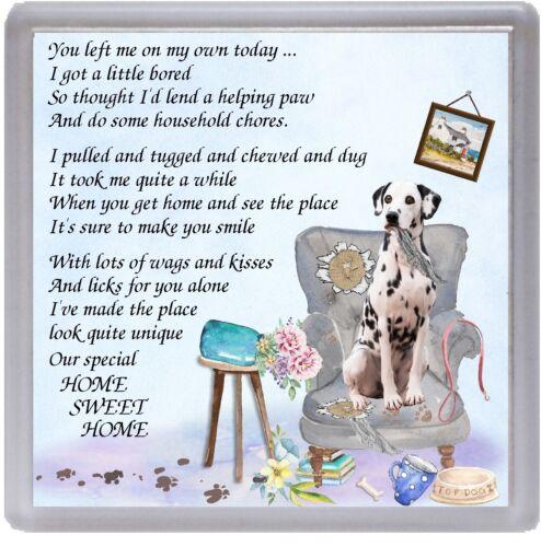 "Dalmatian Dog Coaster /""HOME SWEET HOME Poem ../"" Designed by Starprint"