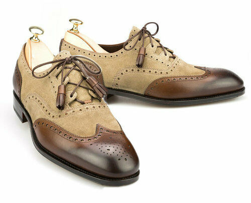 Men's Handmade Two Tone Brown Leather & Beige Suede Oxford Brogue WingTip Laceup