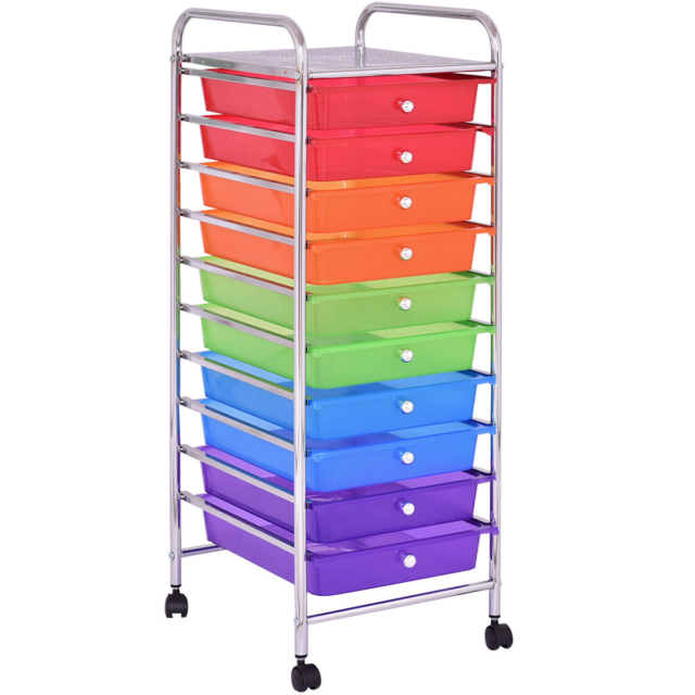 10 Drawers Metal Rolling Storage Cart Trolley Organizer Rainbow Color Panel