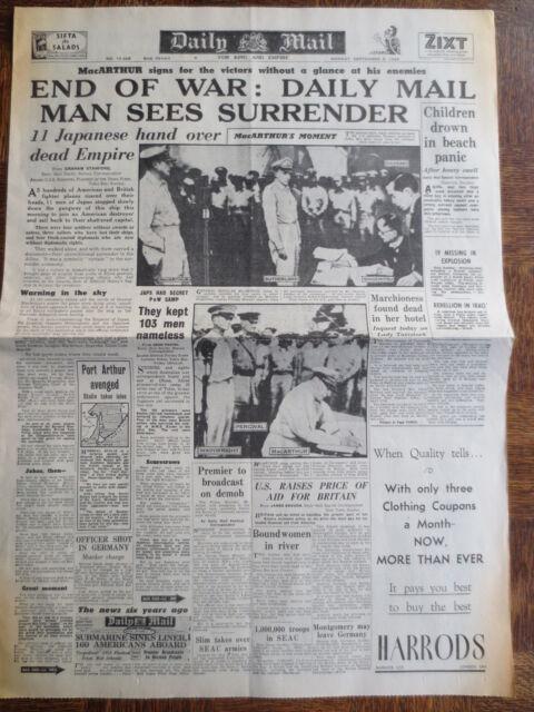 WW2 Newspaper September 3 1945 DAILY MAIL END of WAR Japanese Surrender WARTIME