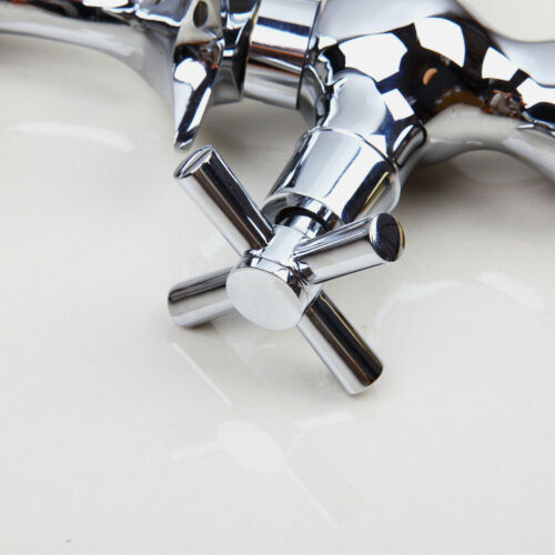 Bathroom Dolphin Shaped Dual Cross Handles Basin Sink Faucet Mixer Taps Chrome