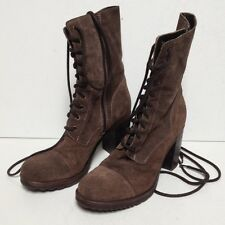 Enrico Fantini Women's Boots Brown Leather Lace Up & Zip Combat Military ankle