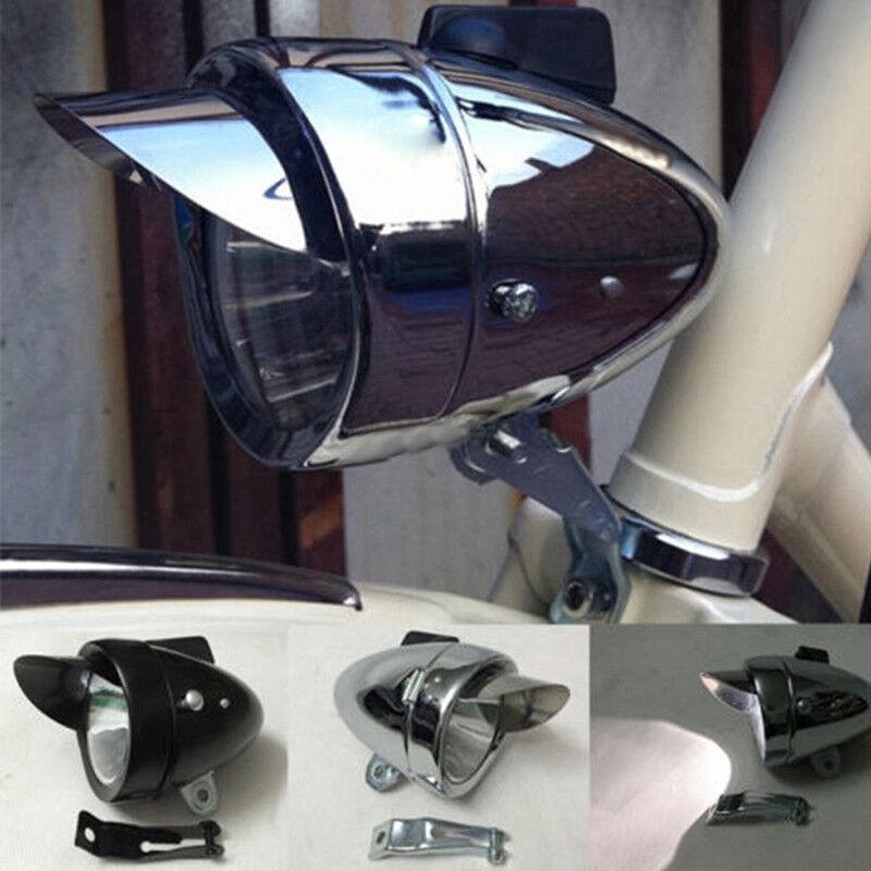 Métal Chromé Vintage Vélo Led Bicyclette Rétro Led Vélo Lampe de tête avant Phare e0b0c5