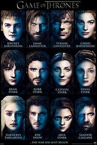 Game of Thrones Characters 24x36 poster Robb Jon Arya Tyrion Sansa Jon Snow Gift
