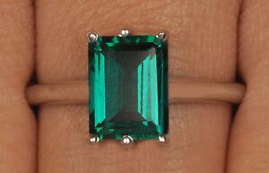 925-Sterling-Silber-1-50-Karat-Achteck-Gestalten-Natuerlichen-Gruenen-Smaragd-Ring