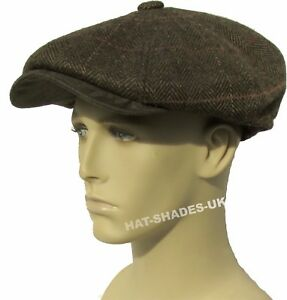 Brown, 60cm Hawkins Mens Herringbone Baker Boy Caps newsboy Hat Country Style Flat Cap