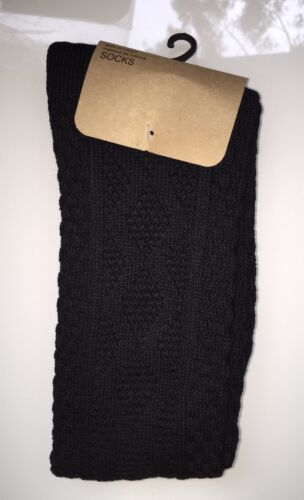 afcd4357d 3 of 7 2 x Urban Outfitters Chunky Pattern Over The Knee Socks - Black Size  4-7