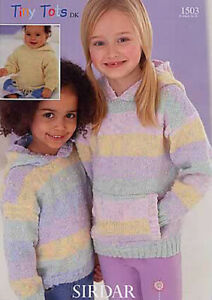 Sirdar-Tiny-Tots-DK-1503-Hooded-Sweaters-Kids-Child-Double-Knitting-Pattern