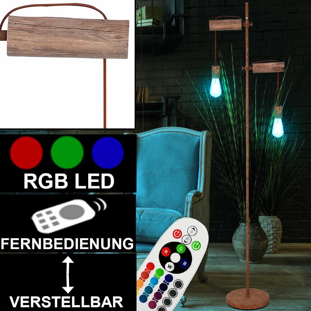 RGB LED Holz Steh Lampe Höhe verstellbar DIMMER Fernbedienung Wohnzimmer Leuchte