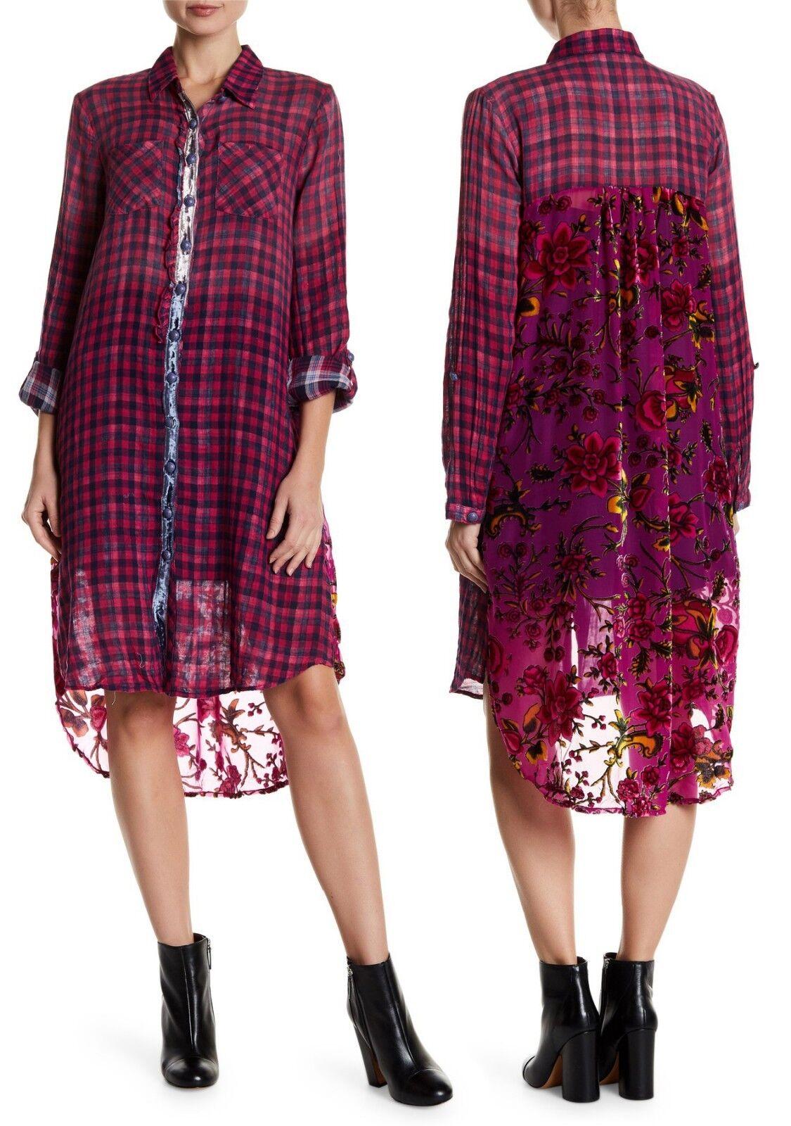 NWT ARATTA Extra Long Plaid Floral Tunic Button Down Shirt Cotton Top Sz Small S