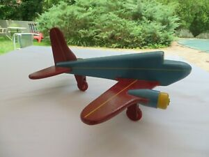 Vintage-Folk-Art-Airplane-Passenger-Airliner-Toy