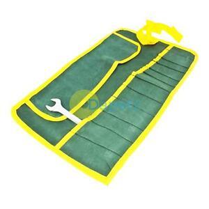 CompéTent Toile 12 Poche Rouleau à Outils Clé Plate Rangement Outil Housse Sac Plier