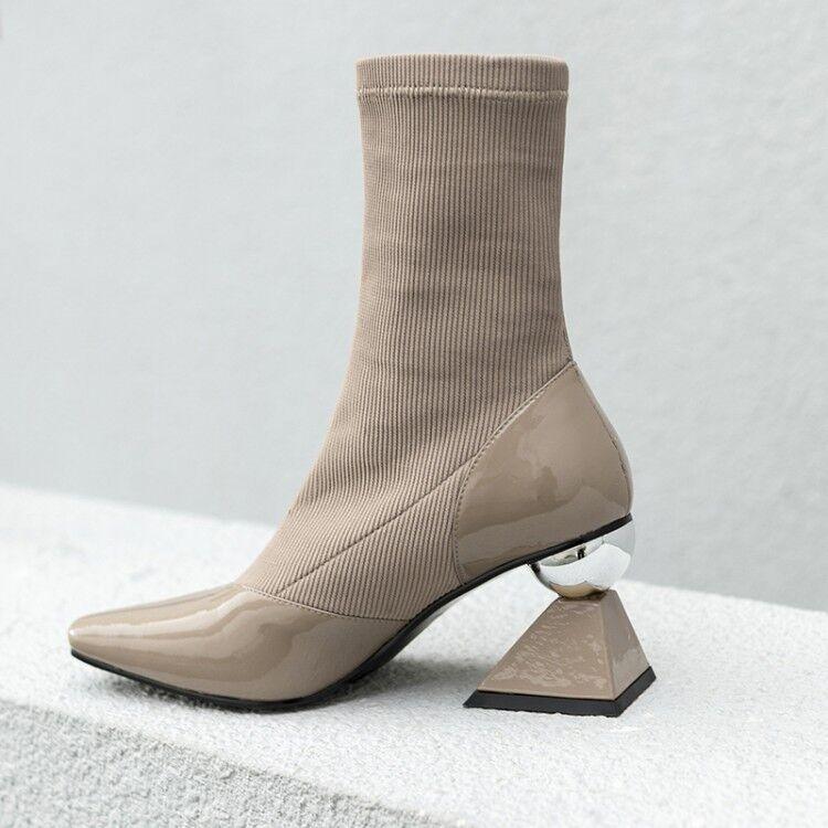 Nouveau Short En Simili Cuir Cuir Cuir Talon Haut Chaussures Bout Carré élastique Tricot Cheville Bottes 6796f5