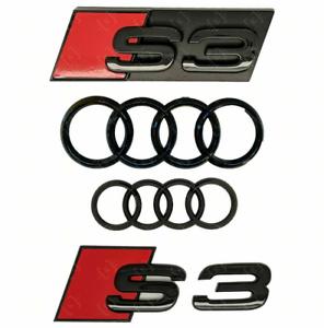 AUDI-S3-Rojo-Negro-Brillante-Frontal-Capo-Tronco-Emblema-Logotipo-E-Insignia-Pegatina-Anillos-de