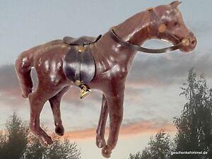 Pferd Spielzeug Leder dunkel zur Sammlung Fahrzeuge Vintage Geschenk ein Unikat