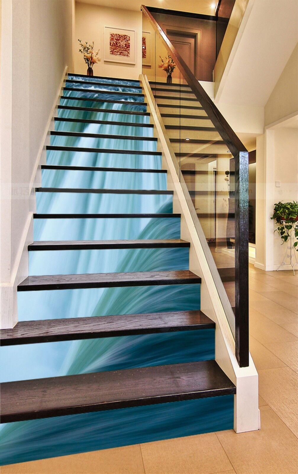 3D Blau current 5 Stair Risers Decoration Photo Mural Vinyl Decal Wallpaper UK