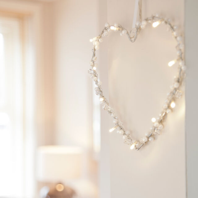 Battery Operated Heart Fairy Light Wreath Decoration, 10 Warm White LEDs, 20cm