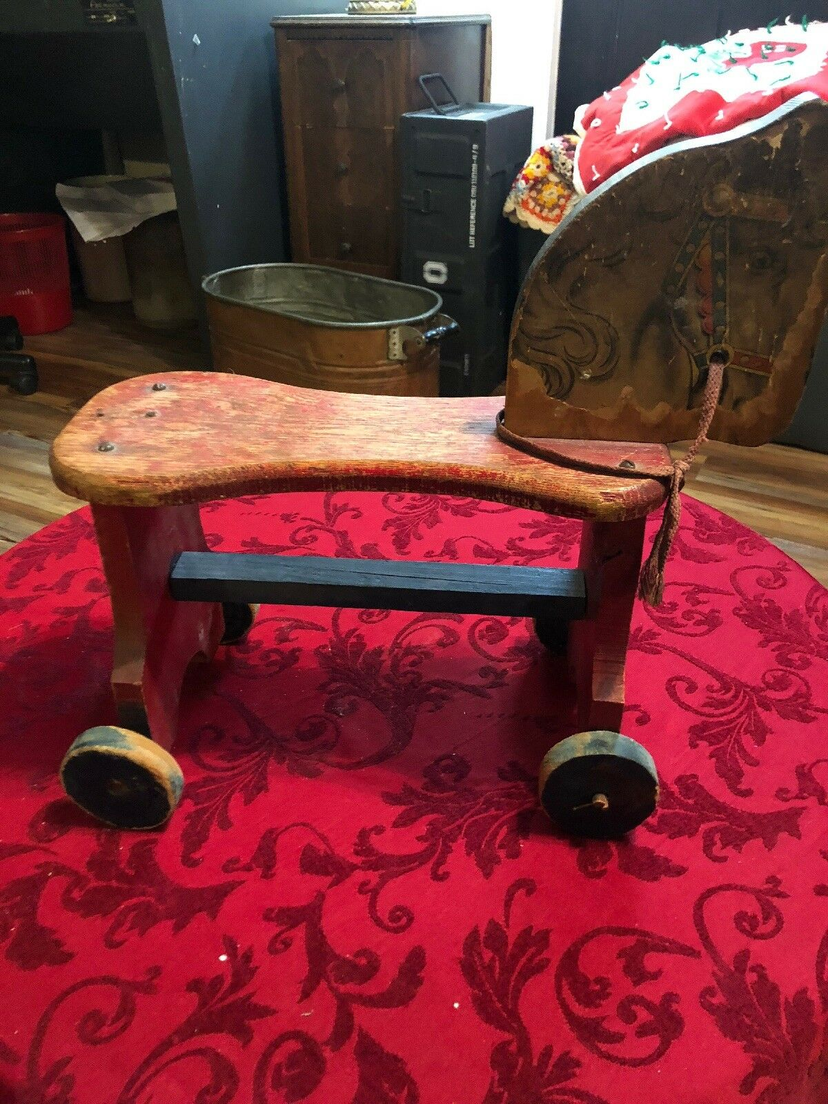 VINTAGE PONY Rolling Horse on Wheels Toddler Size Size Size 1-3 yrs 1930's c83e46