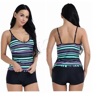 Boy Shorts Women s Swimwear One Piece Swimsuit Tankini Beach Bikini ... 31a7900587