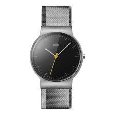 Braun BN0211BKSLMHG Mens Classic Slim Silver Steel Mesh Bracelet Watch RRP £165