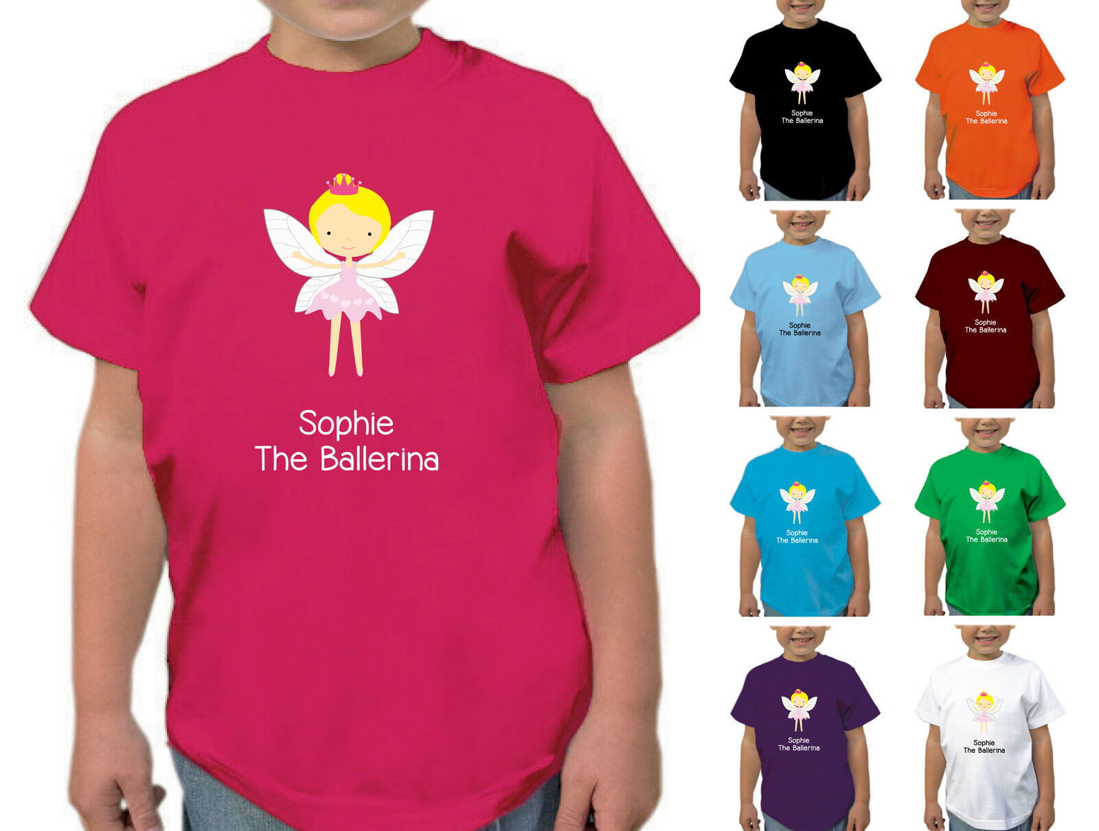 GIRLS PERSONALISED FLORAL DESIGN T-SHIRT CHILDRENS KIDS T SHIRT AGES 1-12 YRS