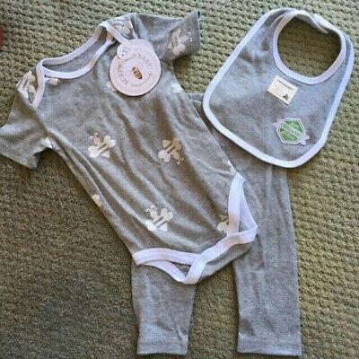 New Burt/'s Bees Baby Boy 2 Pc Organic Cotton Bodysuit Set Sz 3-6 Months
