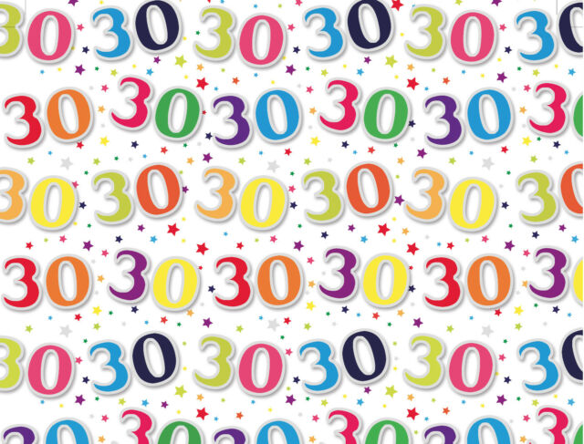 1 Sheet 30th Birthday Gift Wrap Wrapping Paper Age 30 Present
