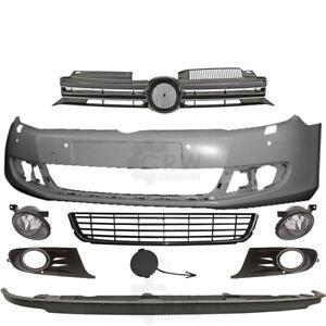 Set-Stossstange-vorne-Nebel-Zubehoer-VW-Golf-VI-6-5K-Bj-08-12-fuer-PDC-4-Loecher-SRA