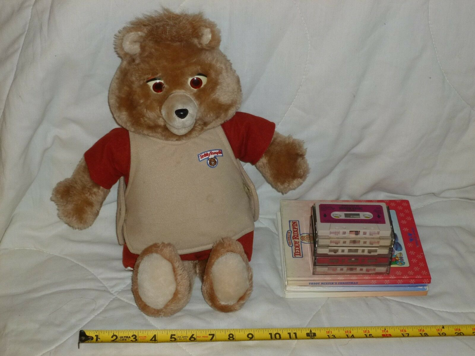 TEDDY RUXPIN - With Vest - 4 CASSETTES 3 Books - BIRTHDAY Airship XMAS Original
