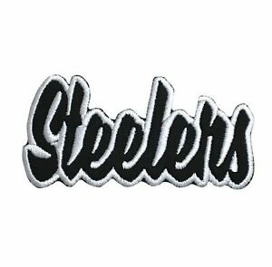 Iron On Embroidered//Applique Patch Team Name Black//White Steelers 2x4