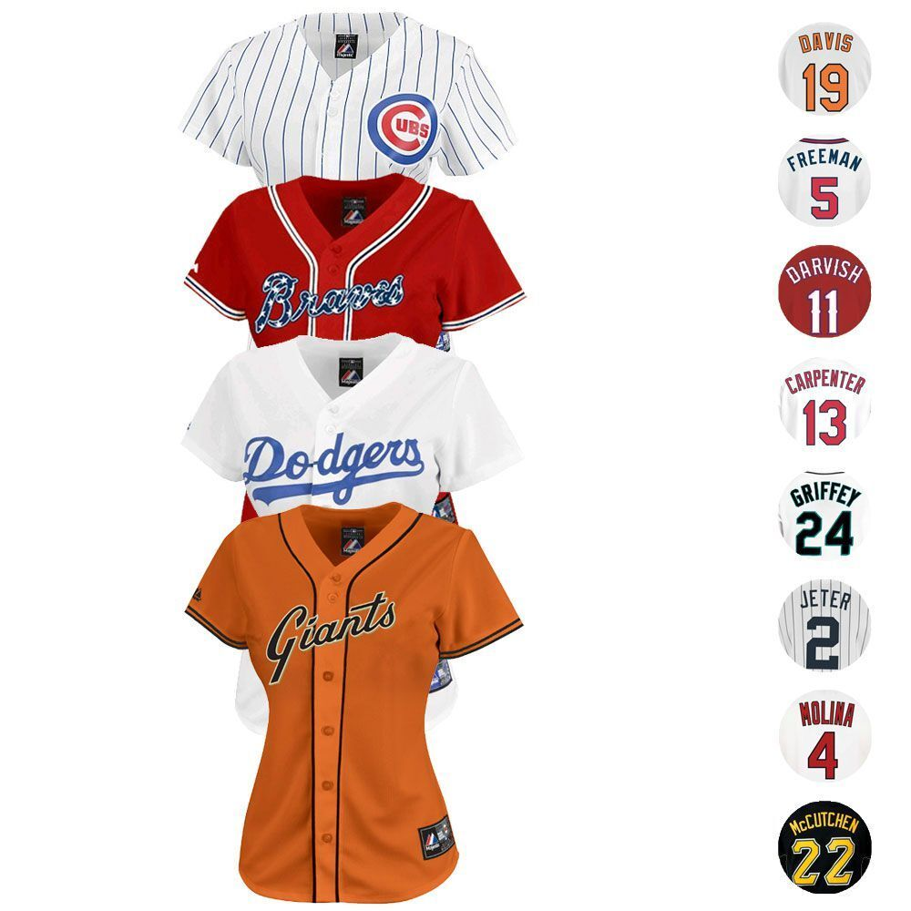 huge discount 157ec 15dc5 MLB Majestic Athletic Team & Player Women's Official Replica ...