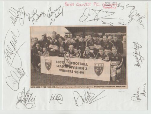 ROSS COUNTY 19981999 ORIGINAL HAND SIGNED M PAGE WITH 14 X SIGNATURES